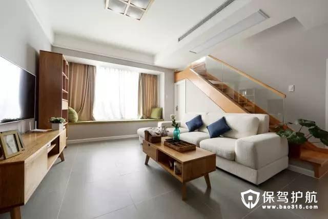 沙发背景墙是楼梯的宜家客厅沙发背景墙装修效果图