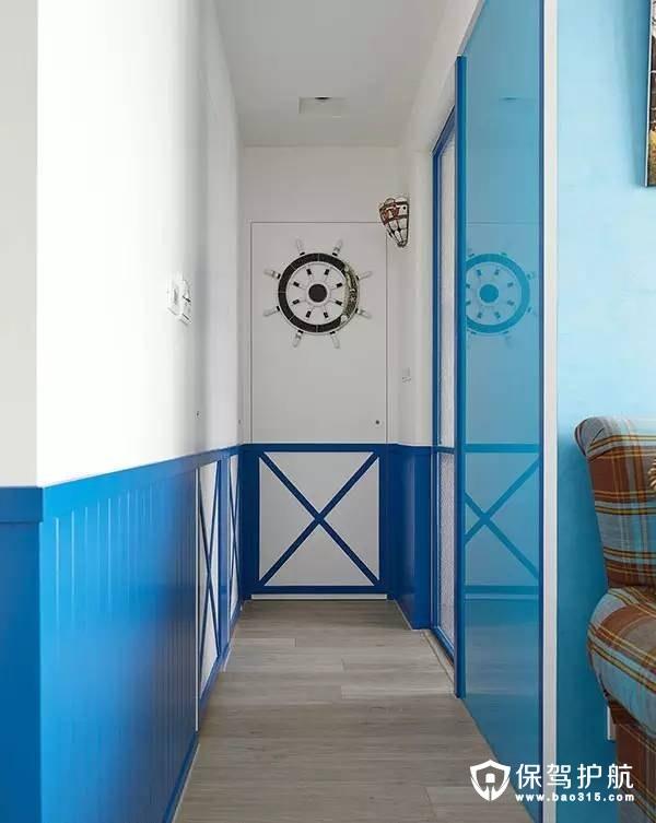 地中海蓝白走廊装修效果图