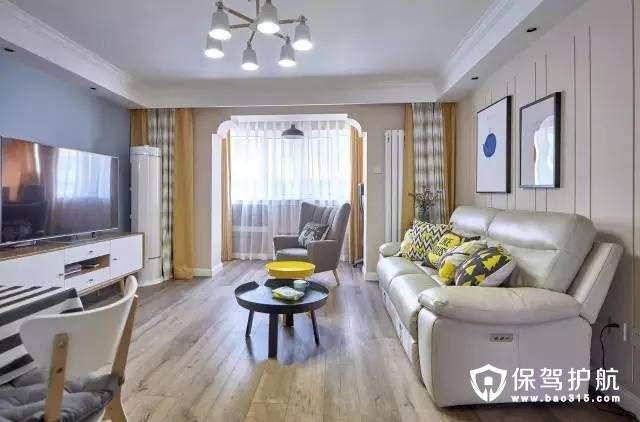 简洁大方混搭客厅木色地板装修效果图