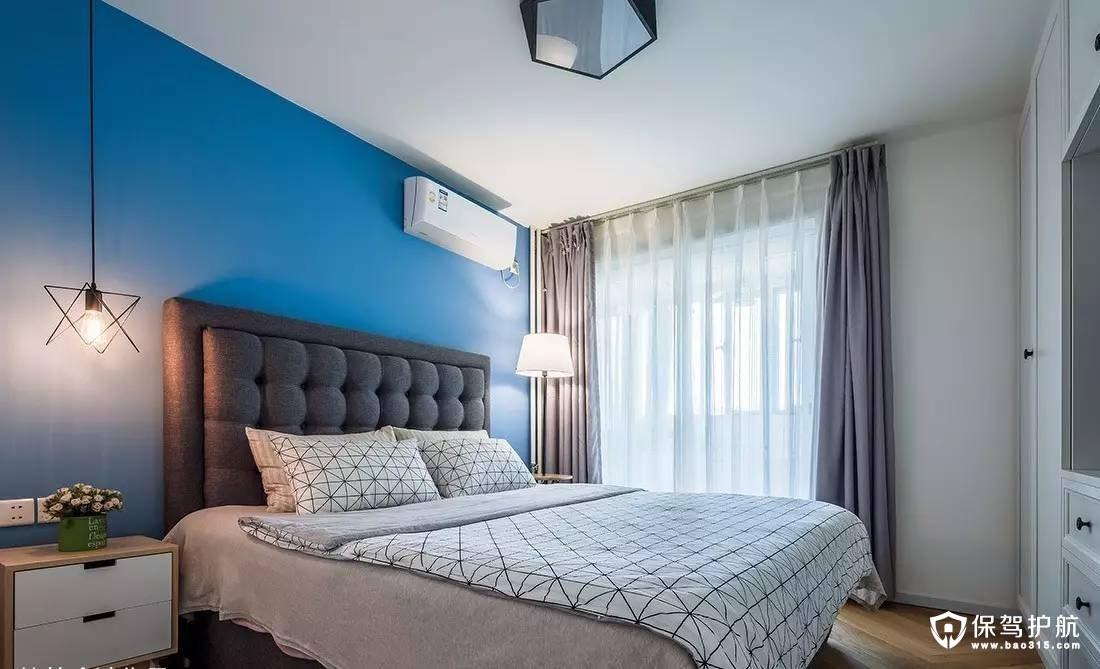 清爽蓝色北欧卧室背景墙装修效果图