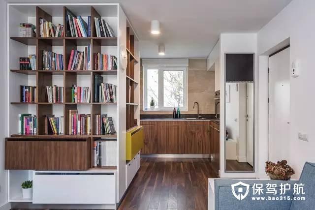 现代简约客厅木格子置物架装修效果图