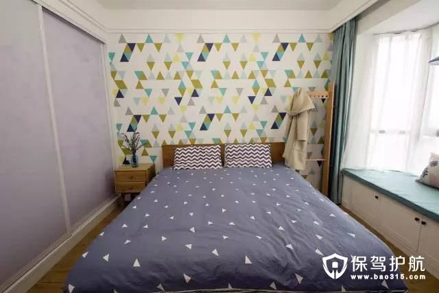 清新优雅的北欧风格卧室飘窗装修效果图