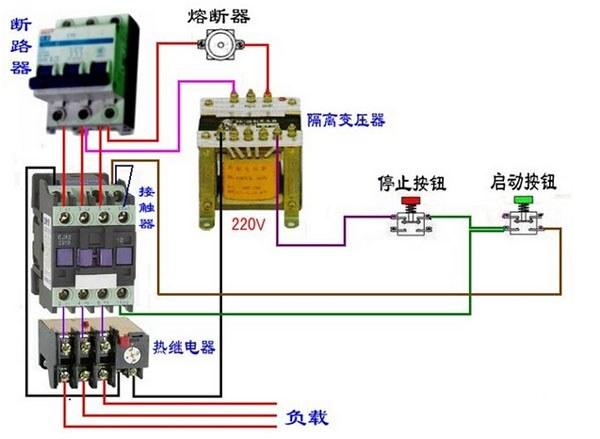 一种延时断电停机的接线图,按下启动后,时间继电器会到达设定的
