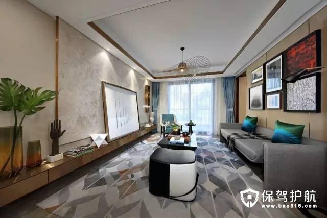 精简优雅、气度不凡115㎡时尚现代风格样品房装修效果图