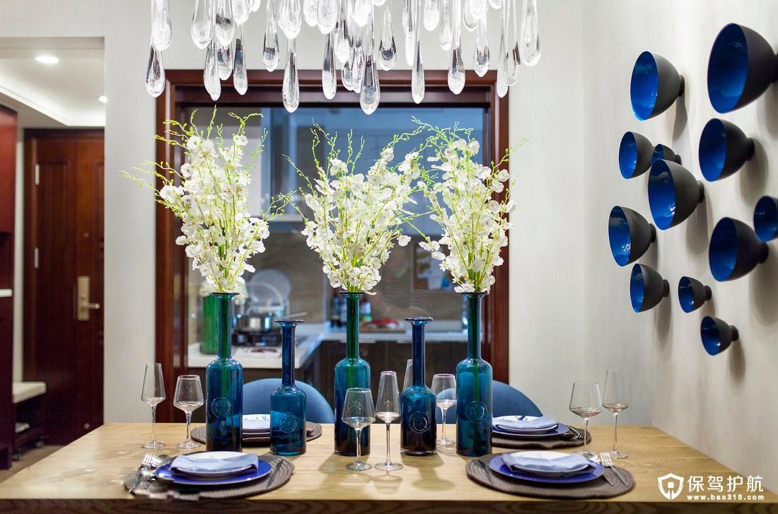 清新自然蓝色北欧风格餐厅装修效果图