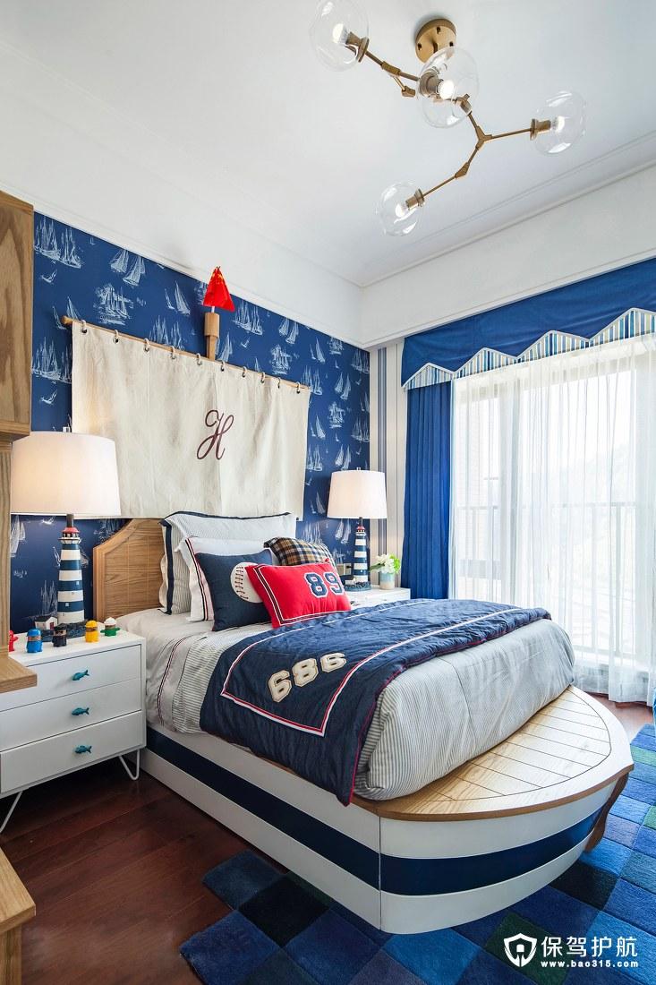 蓝色北欧风格儿童房装修效果图