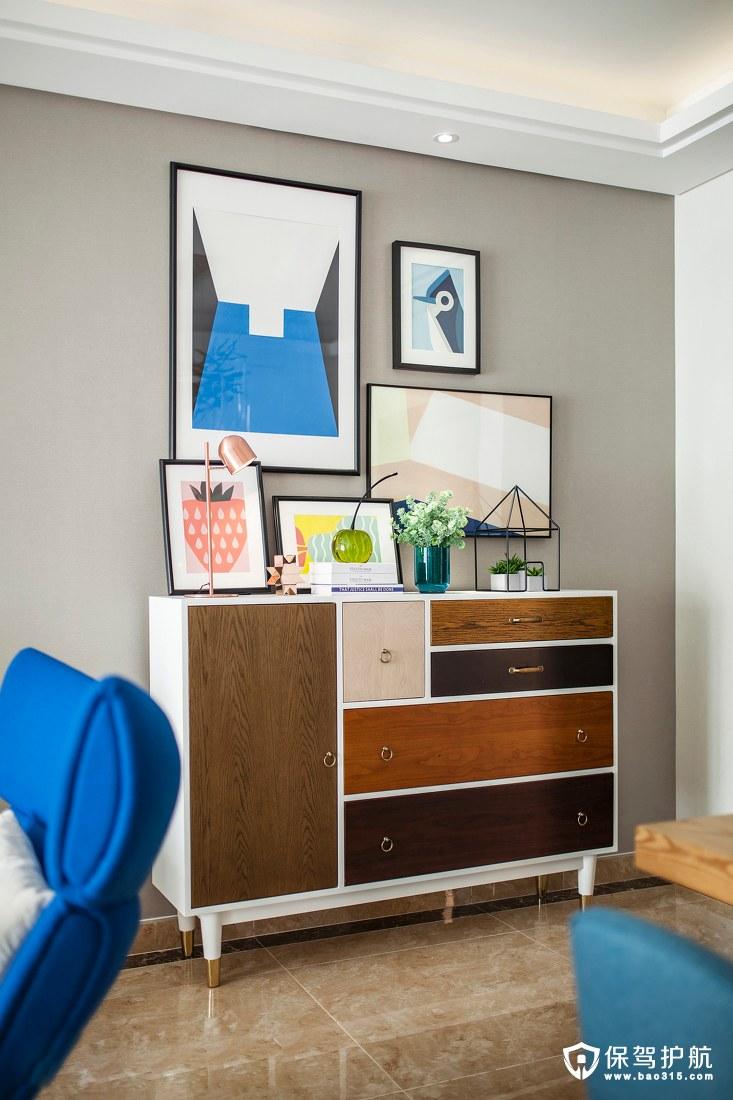海洋蓝与米白色客厅一角装修效果图