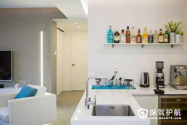 洁白色的简约风格开放式厨房装修效果图