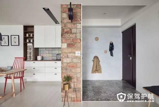简约风格玄关深色复古花纹的地砖装修效果图