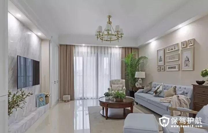 奶咖色美式风格客厅装修效果图