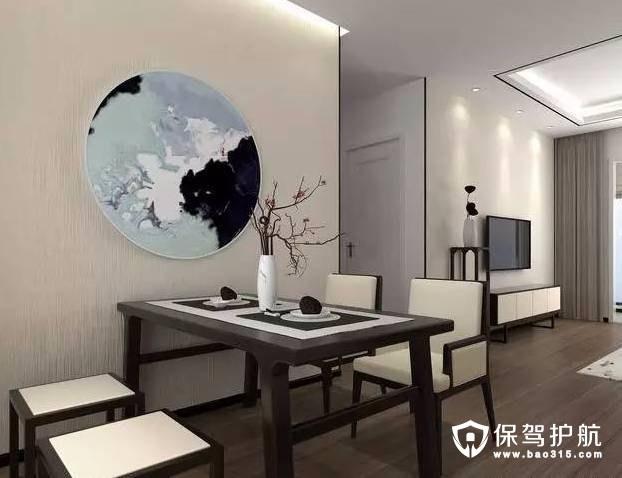 典型新中式餐厅背景墙装修效果图
