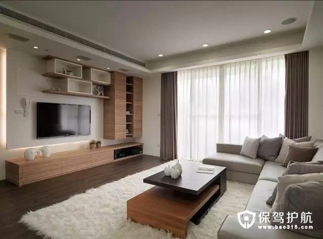 舒适现代简约风格客厅电视背景墙装修效果图