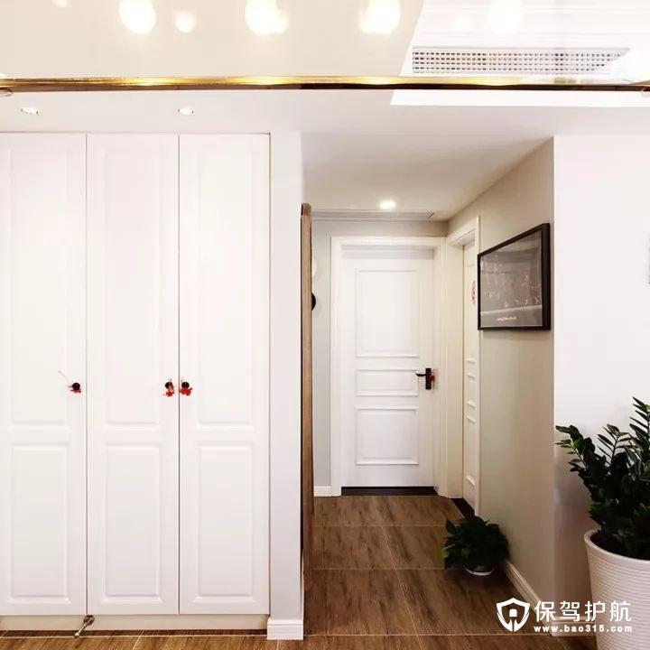自然清新简欧风格玄关通顶收纳柜装修效果图