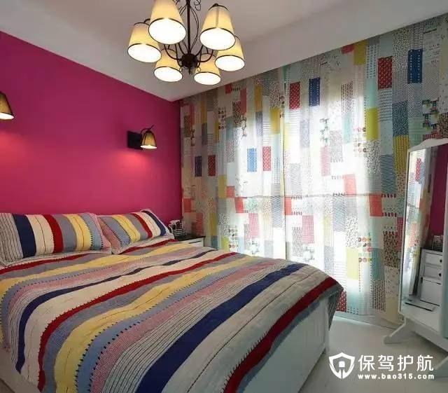 玫红色地中海卧室背景墙装修效果图