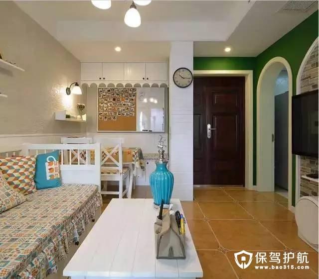 54㎡两室两厅,一厨一卫地中海风格装修效果图