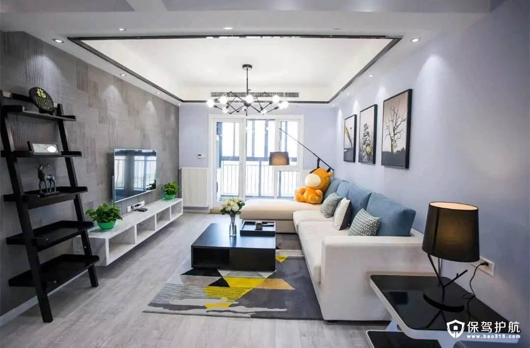 黑白灰简约风格客厅装修效果图