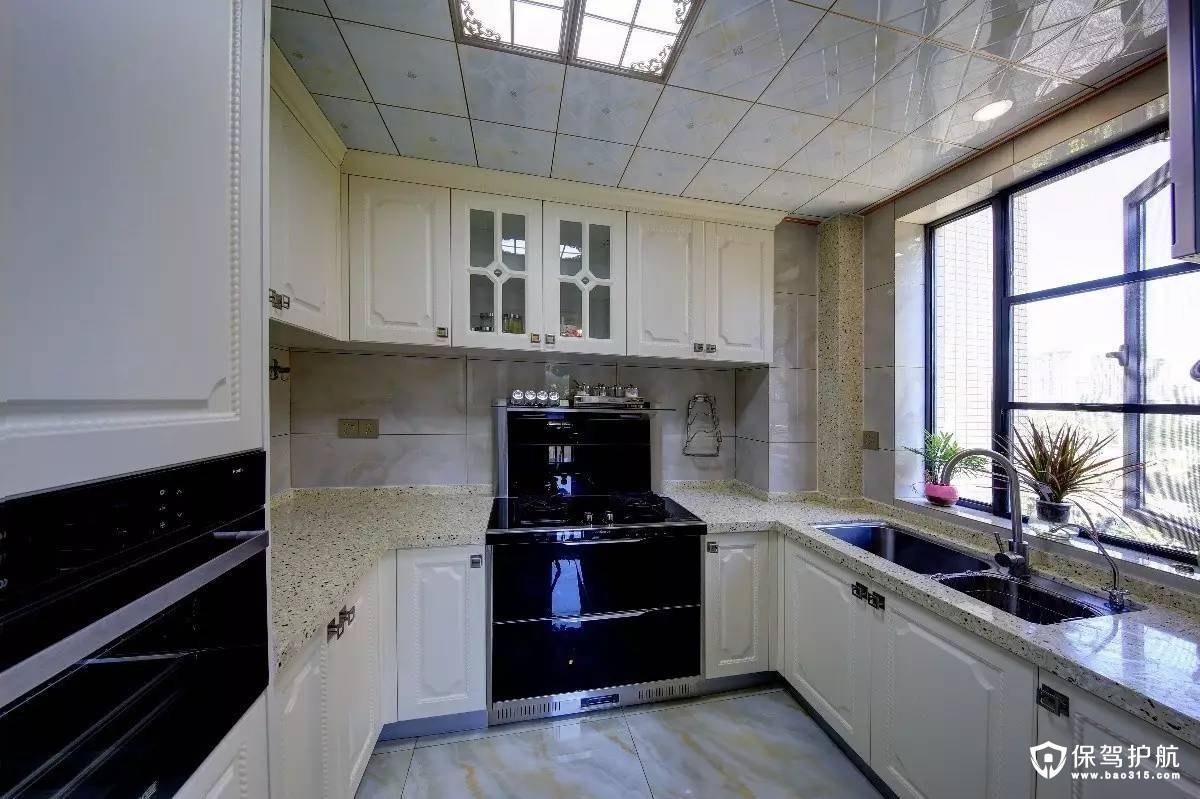 简洁实用新中式U型的大厨房