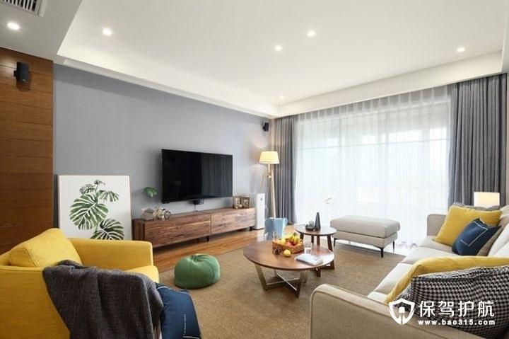 温暖黄色系北欧风格客厅电视背景墙装修效果图