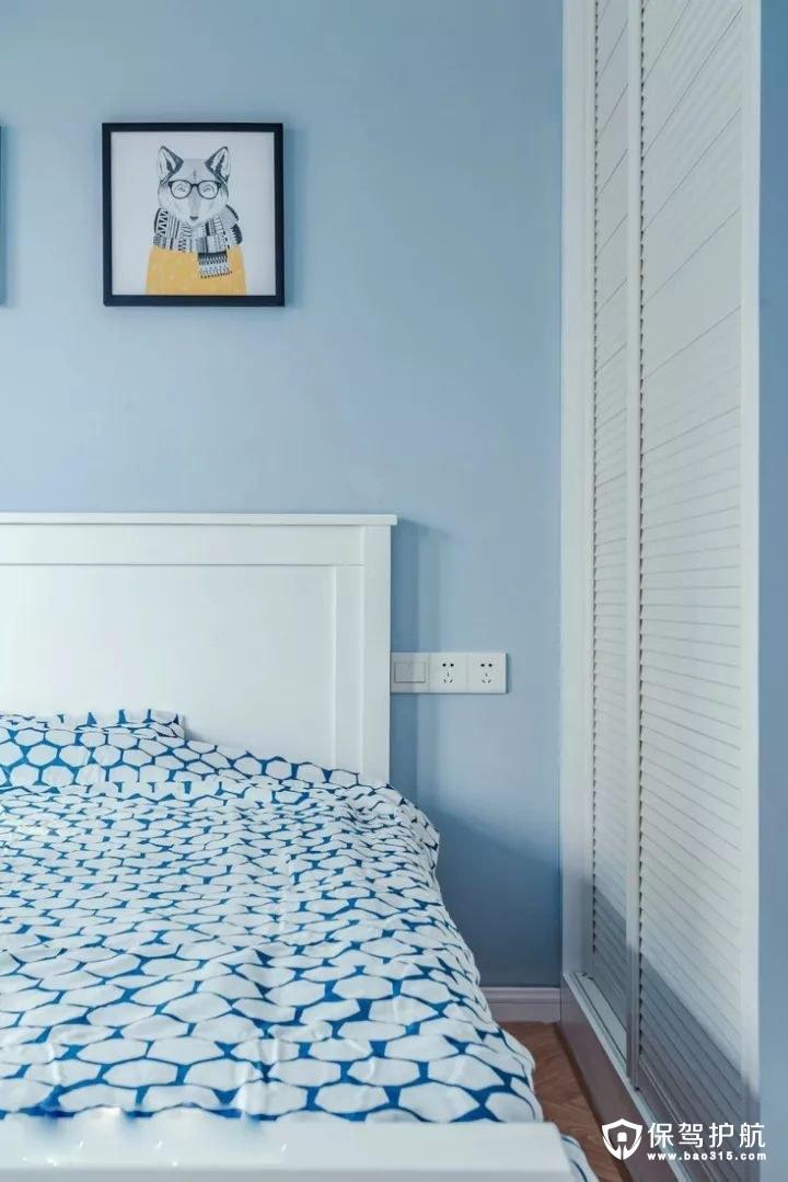 蓝色北欧风格卧室装修效果图