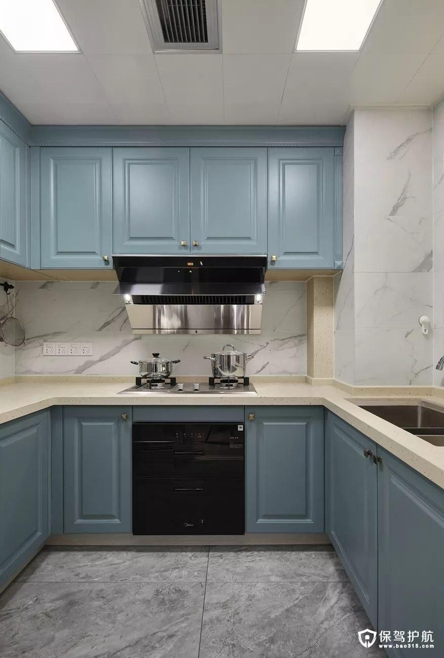 灰蓝色美式风格厨房