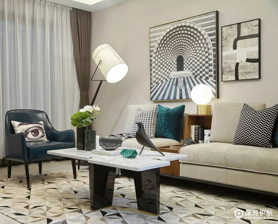 精致优雅简欧风格客厅装修效果图