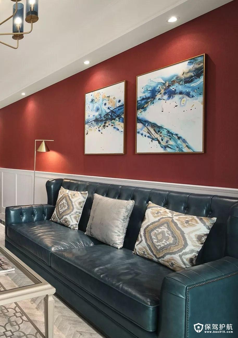 品味气质美式风格客厅沙发背景墙装修效果图