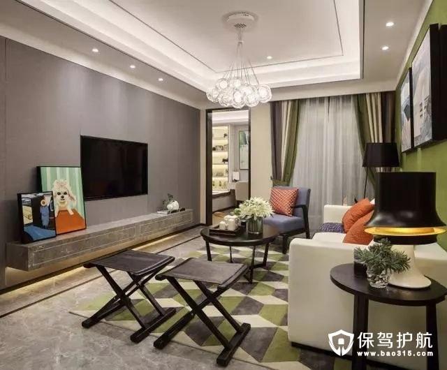 简洁大气现代简约风格客厅电视背景墙装修效果图