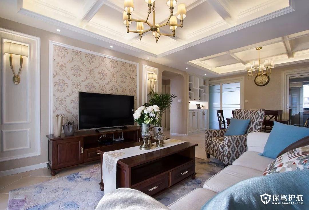 暖咖色美式风格客厅电视背景墙装修效果图