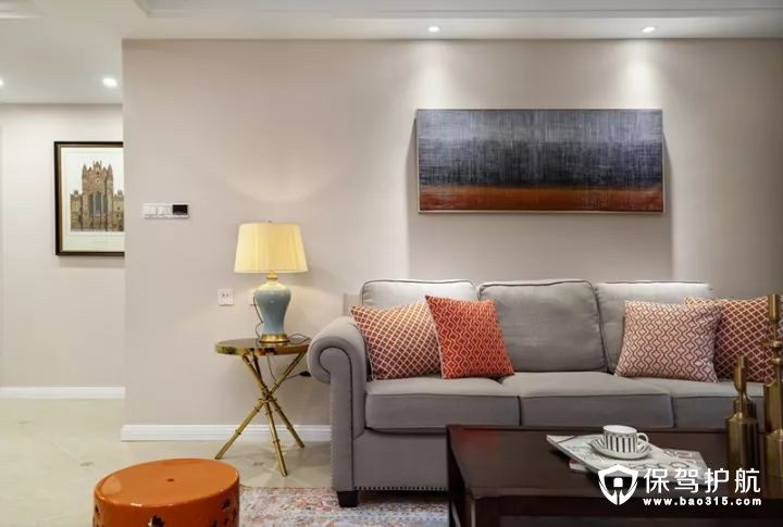 清新美式风格客厅沙发背景墙装修效果图