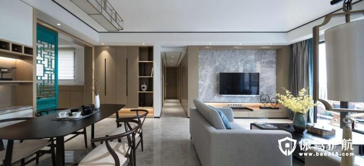 现代高档130㎡大理石质感现代中式装修