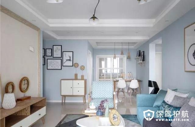 素雅淡蓝色北欧风格客厅装修效果图