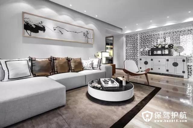 舒适情趣现代中式风格客厅沙发背景墙装修效果图