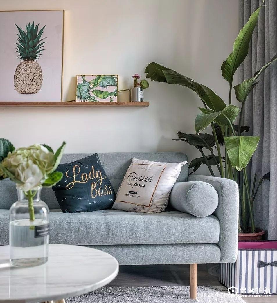 温暖清新北欧风格客厅沙发背景墙装修效果图