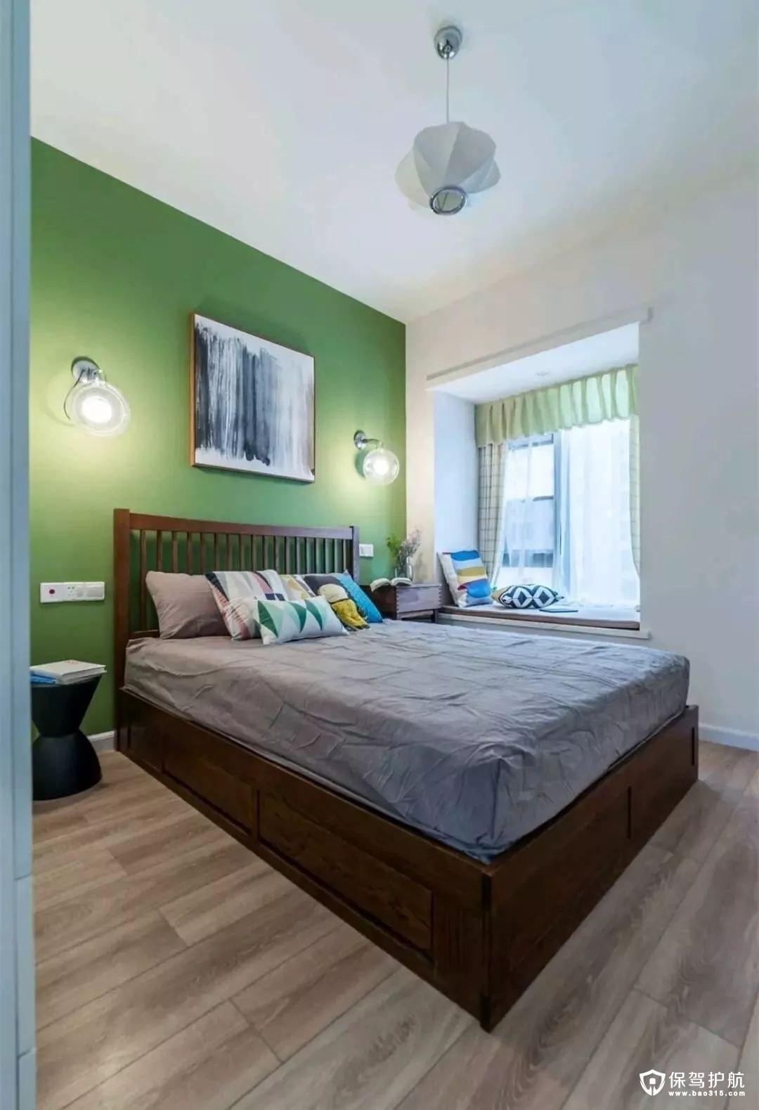 青苹果色清新北欧风格卧室
