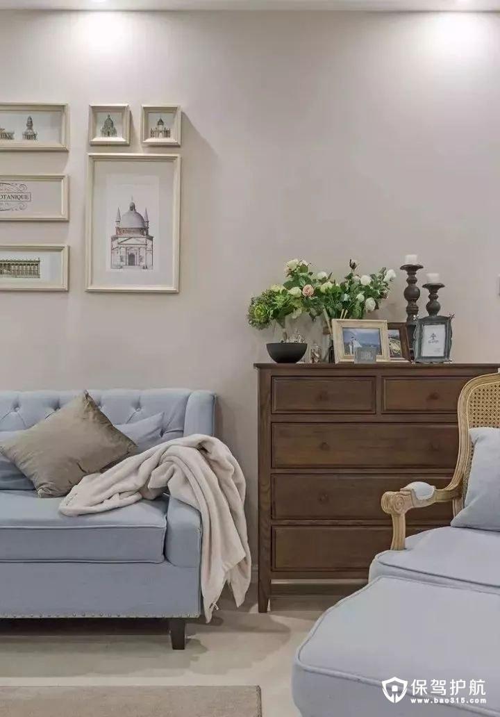 简约美式风格客厅沙发背景墙