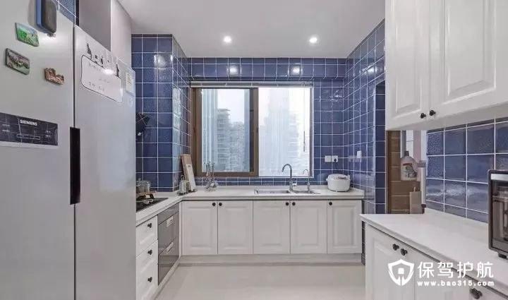 藏蓝色美式风格厨房背景墙