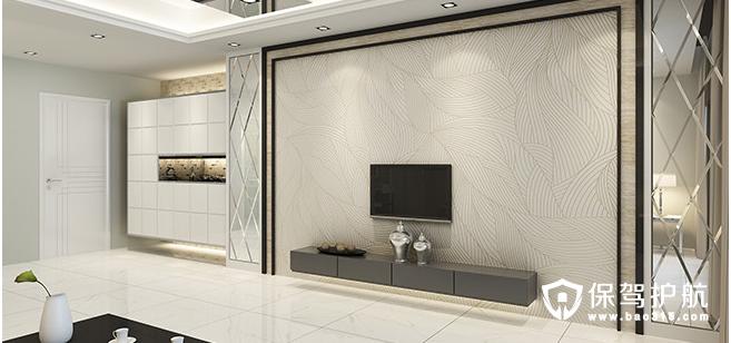 现代简约客厅瓷砖电视背景墙效果图