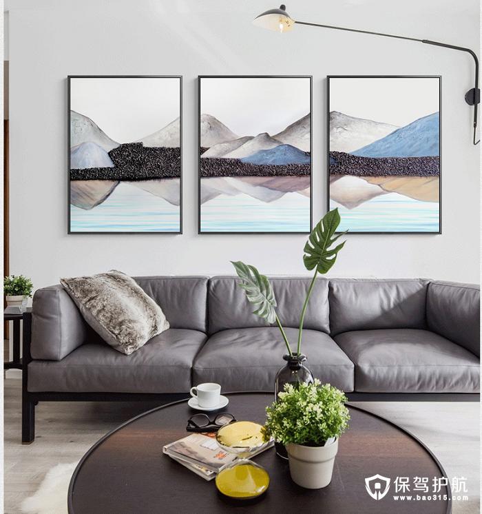 海龙红三联《背有靠山》客厅装饰画效果图