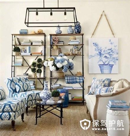 蓝色治愈系美式客厅装修效果图