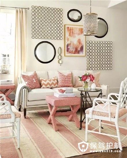 粉色治愈系美式客厅装修效果图