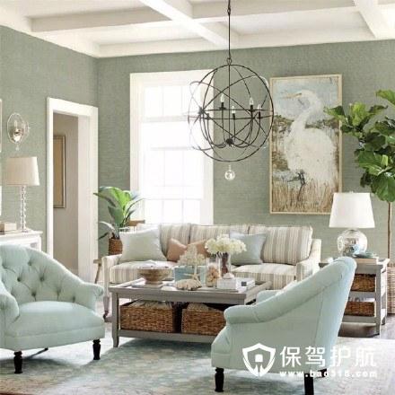 淡蓝色治愈系美式客厅装修效果图