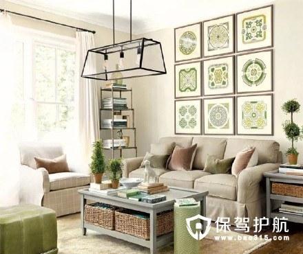 淡绿色治愈系美式客厅装修效果图