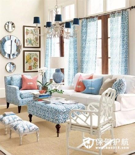 淡淡海洋蓝治愈系美式客厅装修效果图