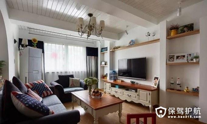 高档而温馨地中海风格客厅白色天花桑拿板