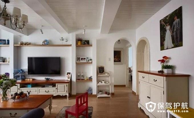情调浪漫地中海风格客厅电视墙婚纱照