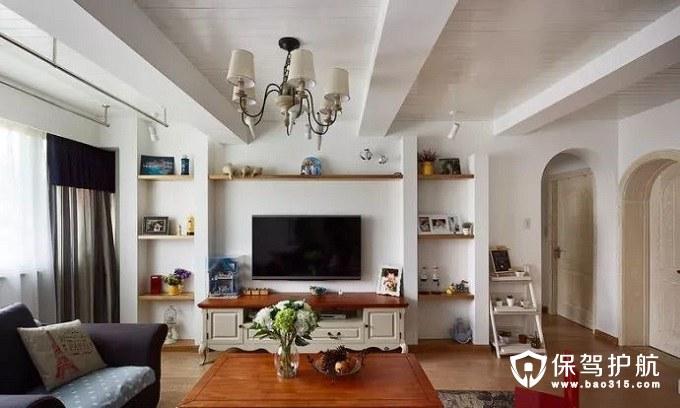 实用又美观地中海风格客厅客厅电视墙柱子
