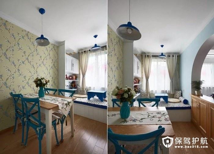 清新大方地中海风格优雅壁纸蓝色餐椅