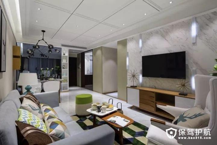 既舒适又有档次时尚感北欧风格客厅大理石电视背景墙