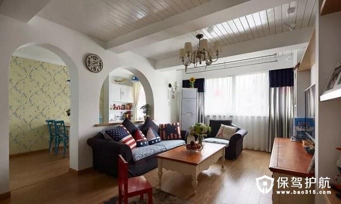 优雅自然地中海风格客厅沙发墙