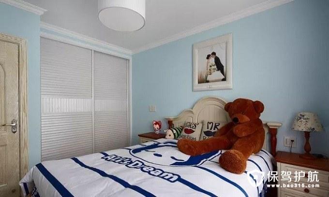 舒适又优雅清新蓝色地中海风格次卧
